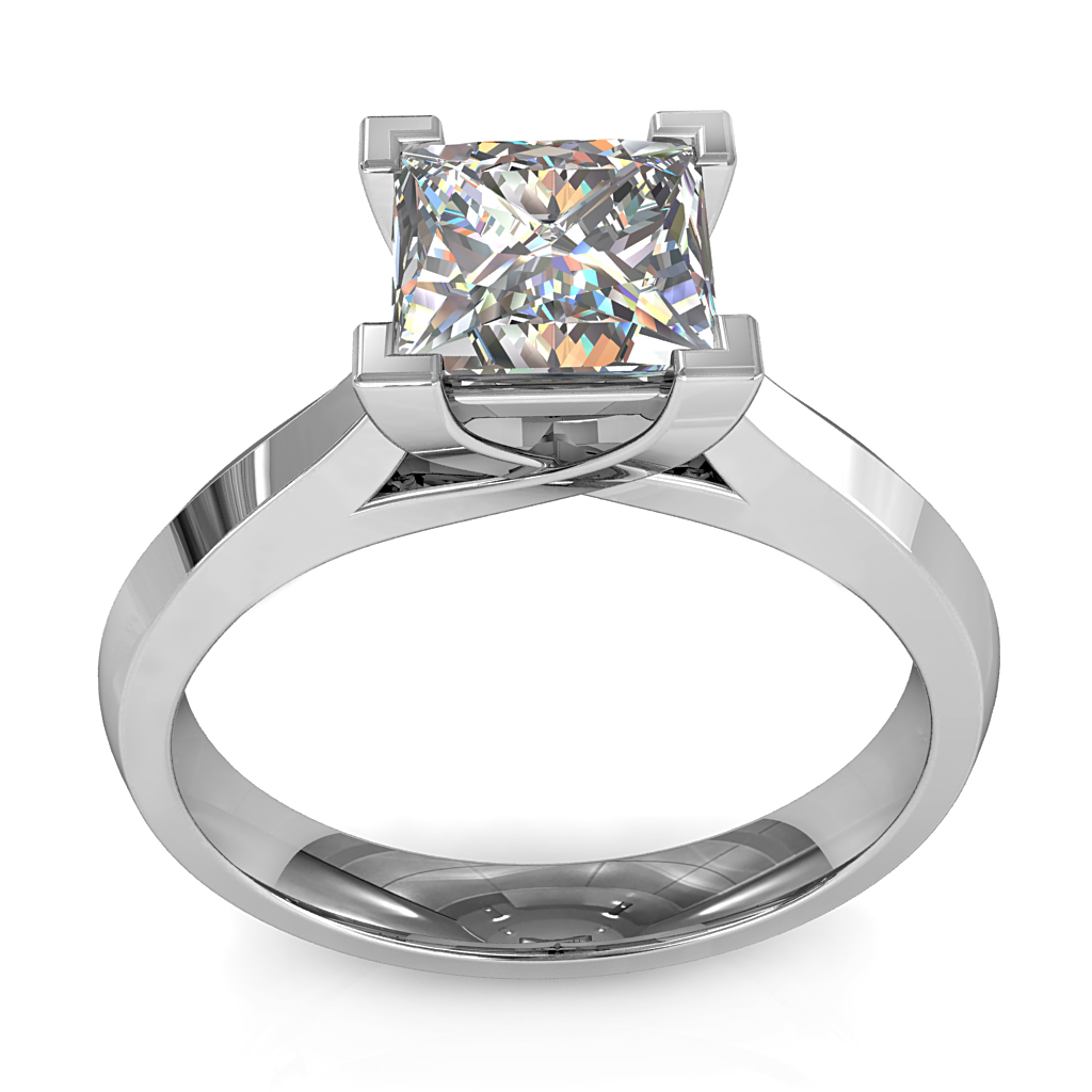 Princess Cut Solitaire Diamond Engagement Ring, 4 Corner Claws on an Undersweep Setting.