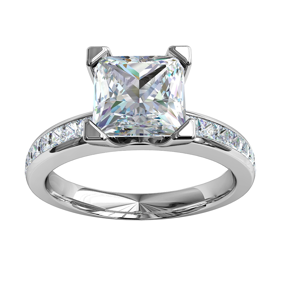 Princess Cut Solitaire Diamond Engagement Ring, 4 Square Claws on a Princess Channel Set Band.