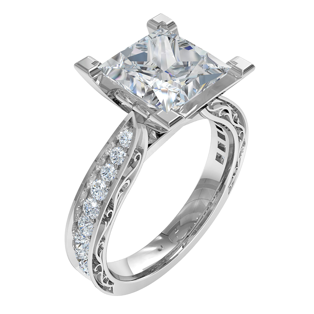 Princess Cut Solitaire Diamond Engagement Ring, 4 Milgrained Corner Claws on a Tapered Milgrain Bead Set Band with Outer Band Scroll Detail.