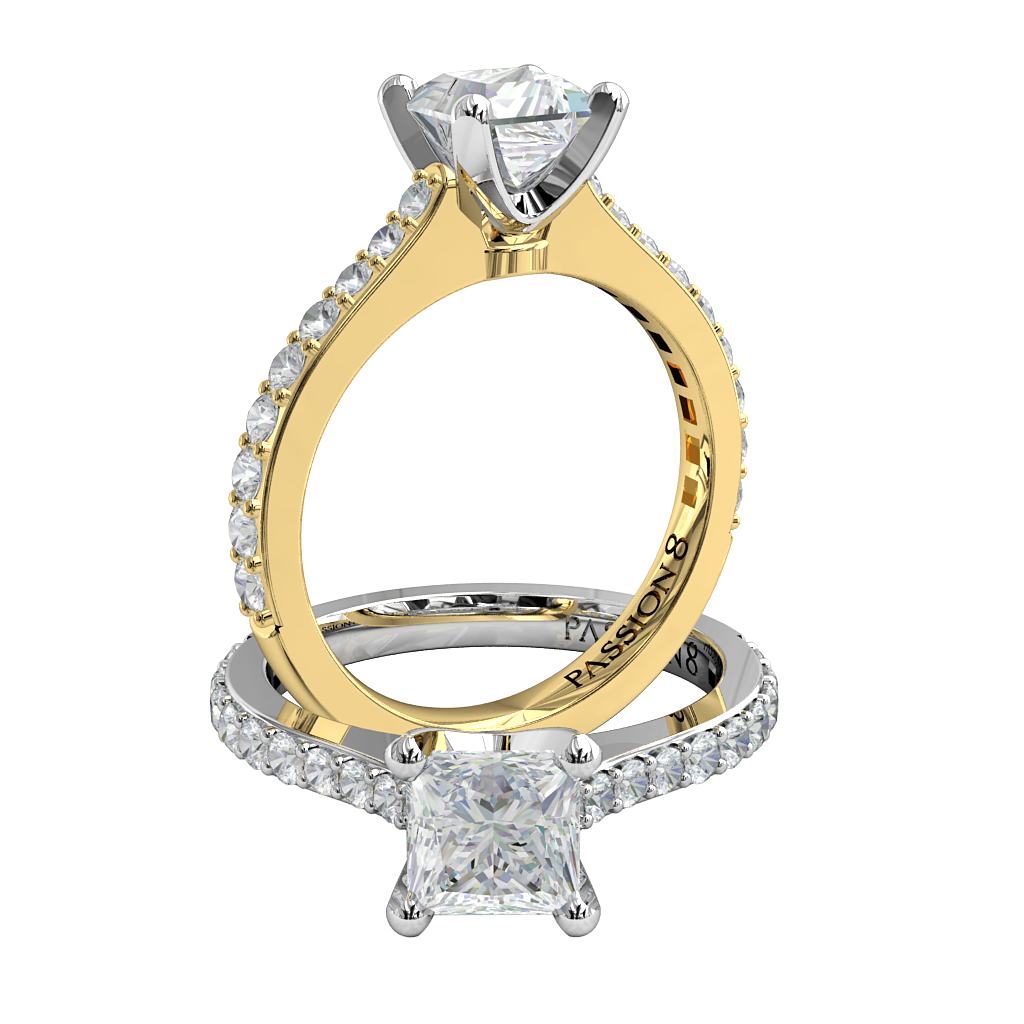 Princess Cut Solitaire Diamond Engagement Ring, 4 Square Claws on an Open Bead Set Band with Classic V Undersetting.