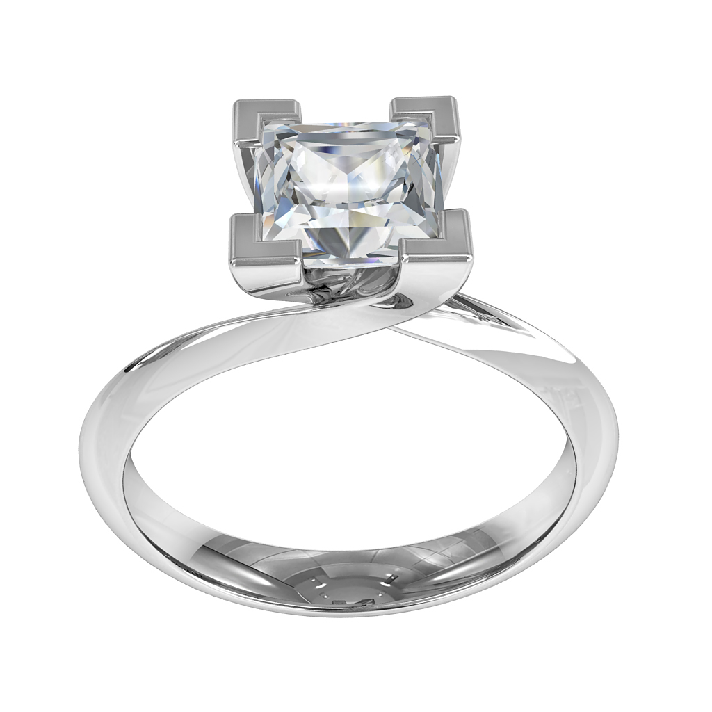 Princess Cut Solitaire Diamond Engagement Ring, 4 Corner Claws on Tapered Band with a Twisted Undersetting.