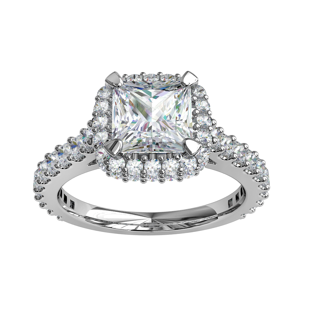 Princess Cut Halo Diamond Engagement Ring, 4 Double Claw Set on a Cut Claw Halo and Band.