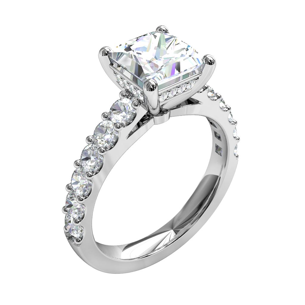 Princess Cut Solitaire Diamond Engagement Ring, 4 Claws Set on a Cut Claw Band with Diamond Set Support Bar.