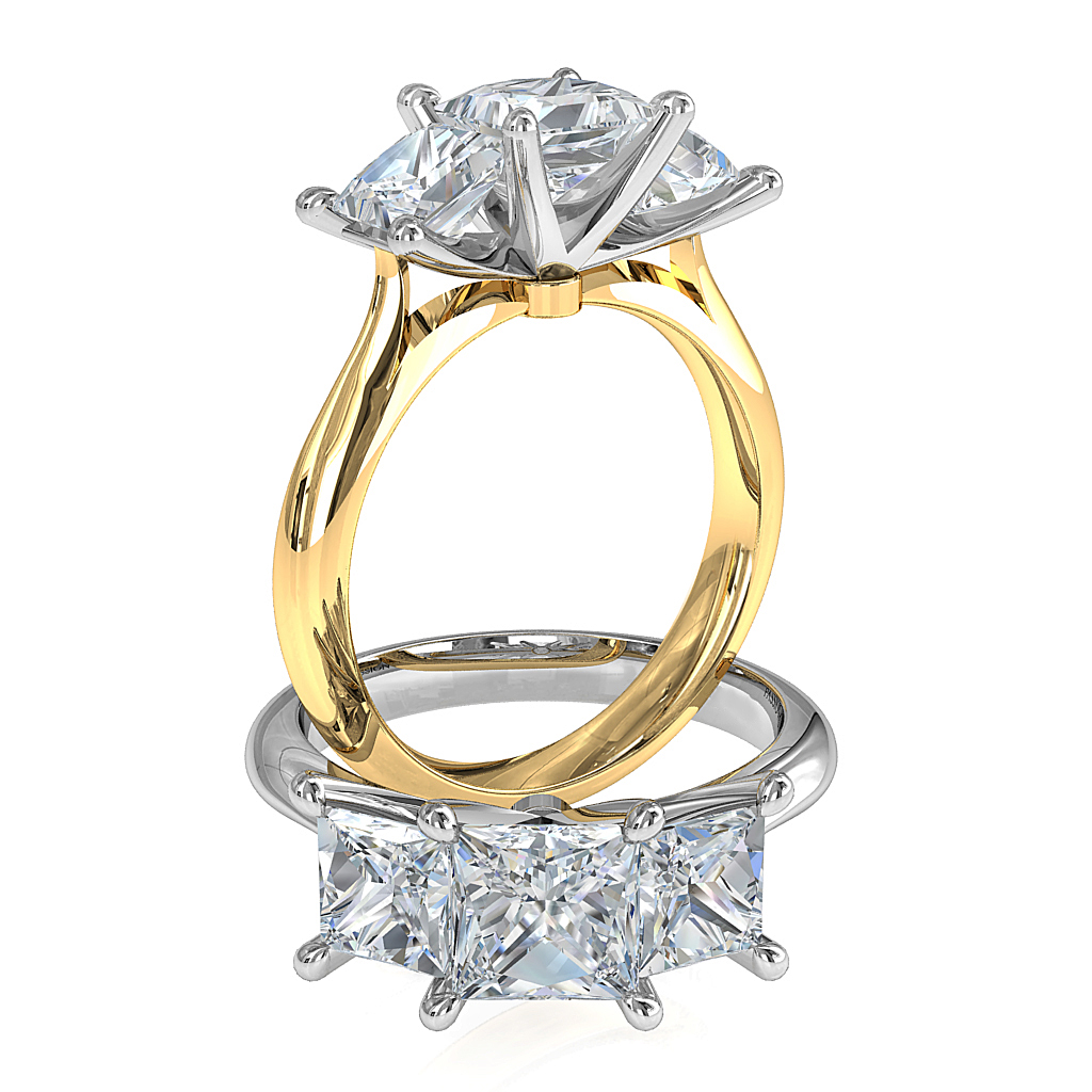 Princess Cut Trilogy Diamond Engagement Ring, 4 Pear Shaped Claws on a Tapered Band.