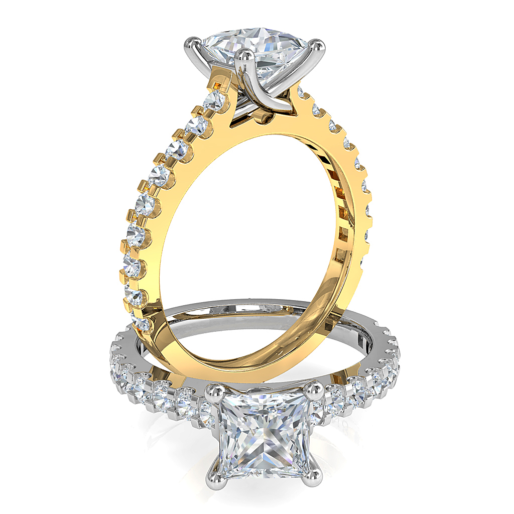Princess Cut Solitaire Diamond Engagement Ring, 4 Claw Set on a Cut Claw Band with an Undersweep Setting.