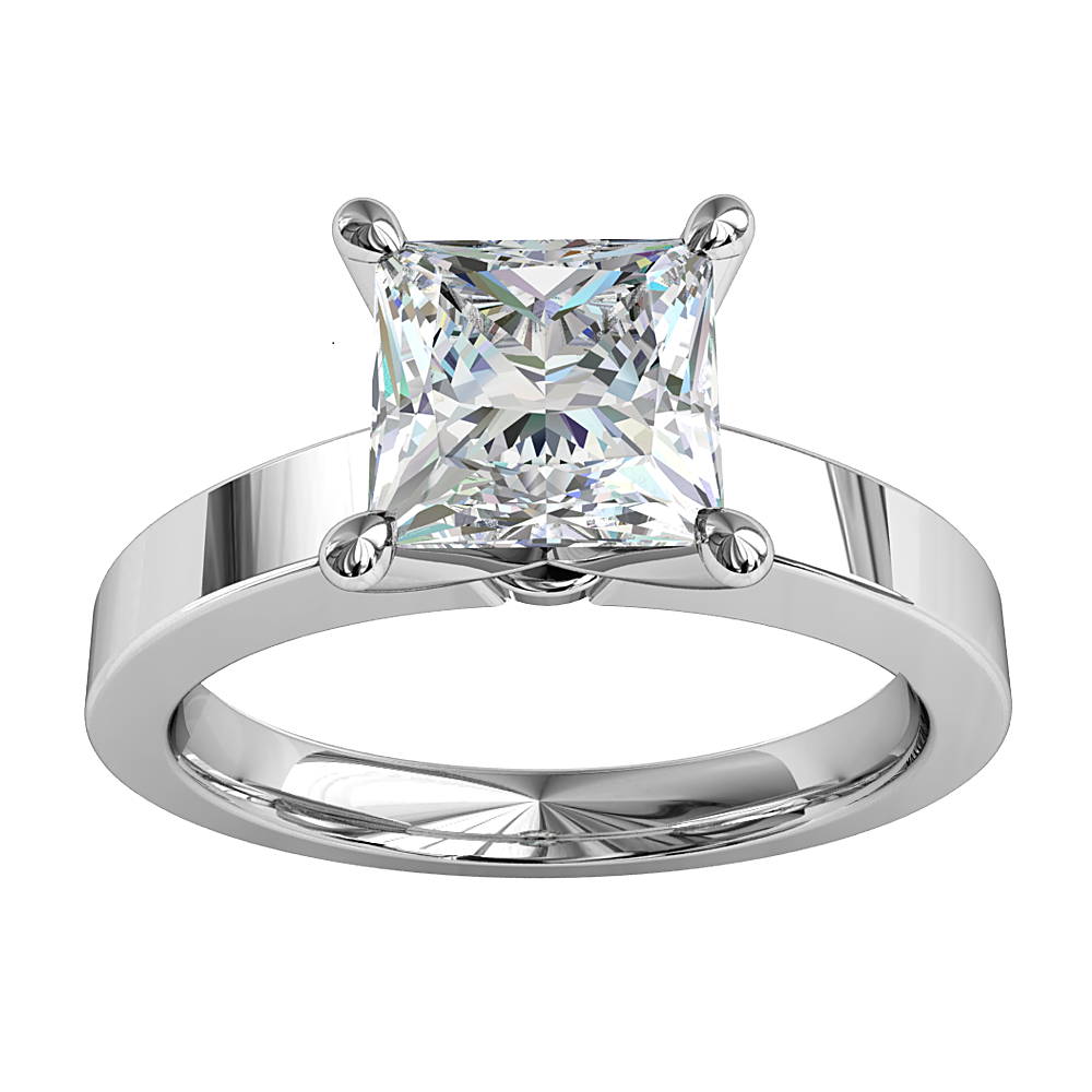 Princess Cut Solitaire Diamond Engagement Ring, 4 Pear Shape Claws on a Flat Band.
