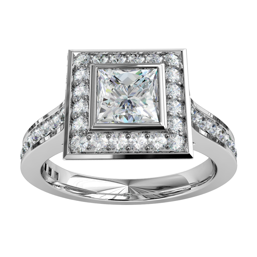 Princess Cut Halo Diamond Engagement Ring, Bezel set in a bead set halo and band with a classic underail setting.