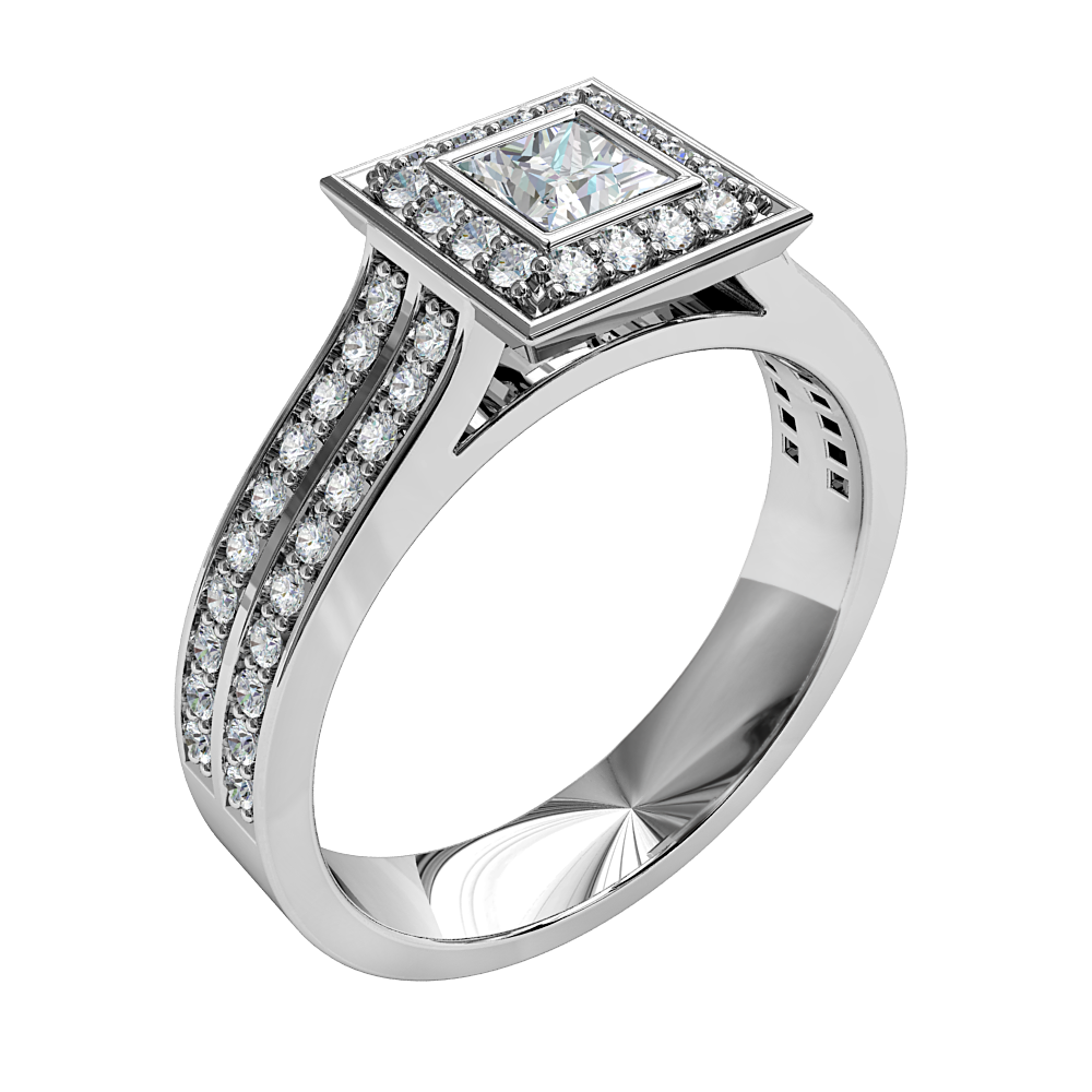 Princess Cut Halo Diamond Engagement Ring, Bezel Set in a Bead Set Halo on a Double Row Bead Set Band.