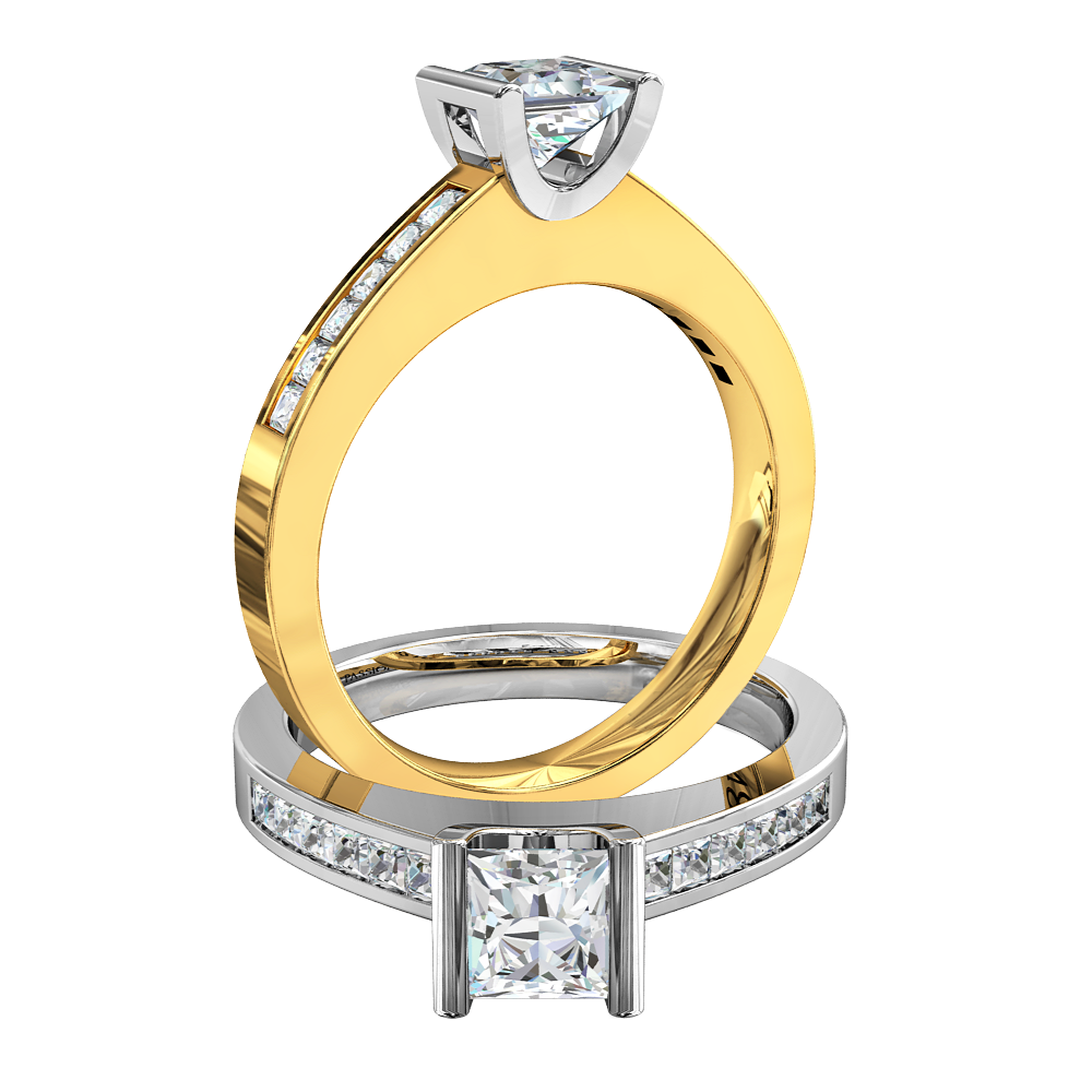 Princess Cut Solitaire Diamond Engagement Ring, Tension Set with Princess Cut Channel Set Band.