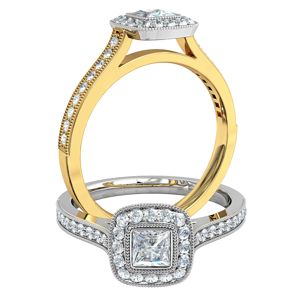 Princess Cut Halo Diamond Engagement Ring, Milgrain Bezel Set in a Milgrain Bead Set Halo and Band.
