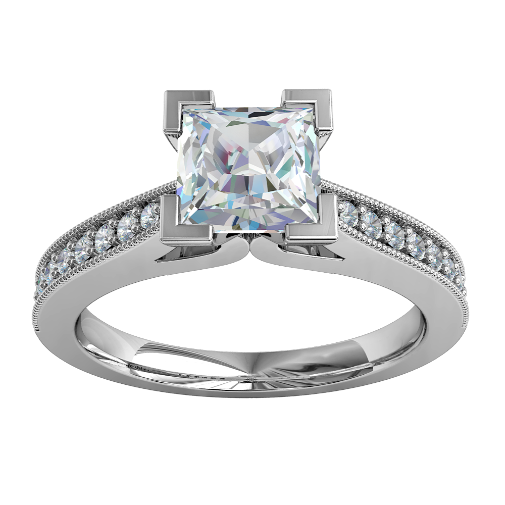 Princess Cut Solitaire Diamond Engagement Ring, 4 Corner Claws on a Tapered Milgrain Bead Set Band with V Scroll Undersetting.
