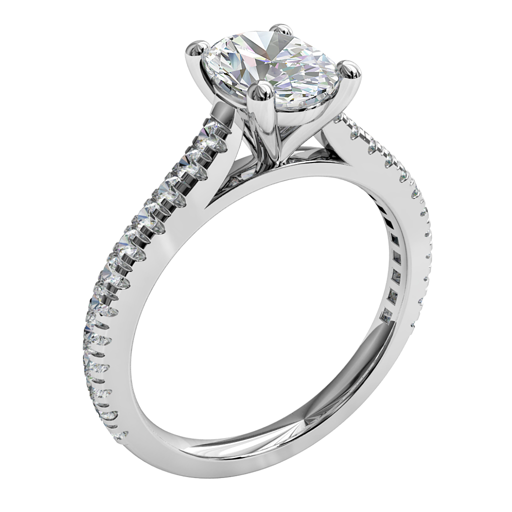 Oval Cut Solitaire Diamond Engagement Ring, 4 Claws with a Classic Underrail Setting.