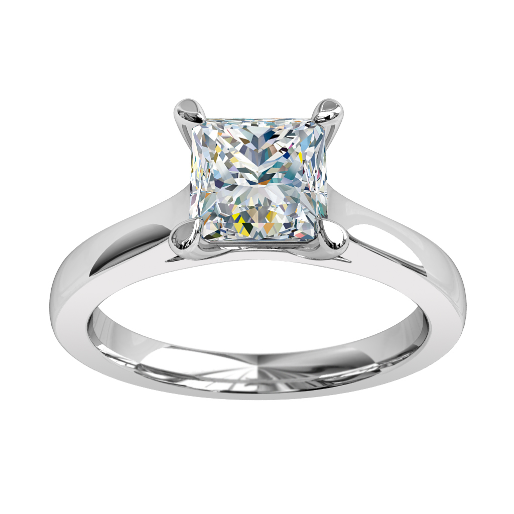 Princess Cut Solitaire Diamond Engagement Ring, 4 Pear Shape Claws and a Classic Underrail Setting.