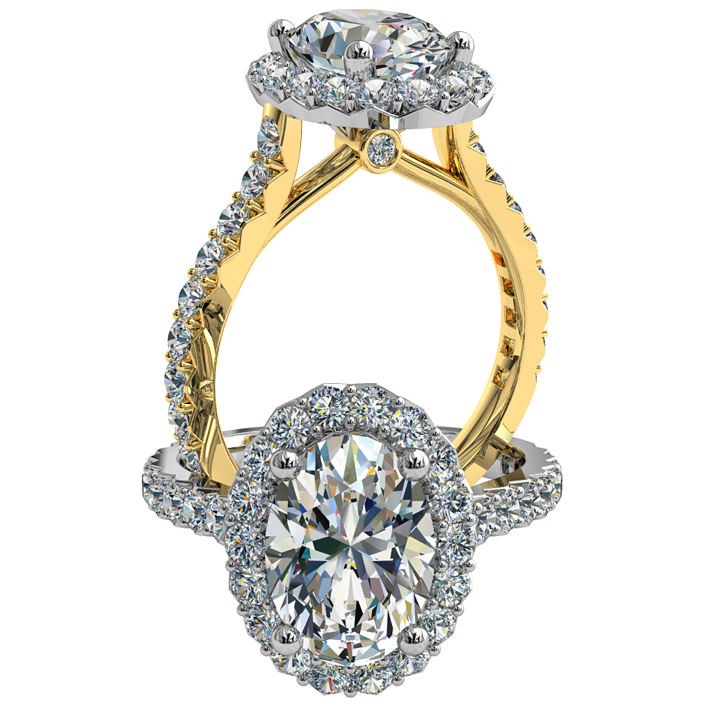 Oval Cut Diamond Engagement Ring, Cut Claw Halo and Band with Hidden Diamond Undersetting.