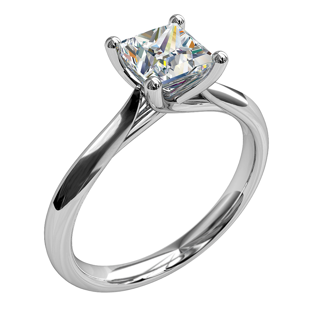 Princess Cut Solitaire Diamond Engagement Ring, 4 Button Claws and an Undersweep Setting.