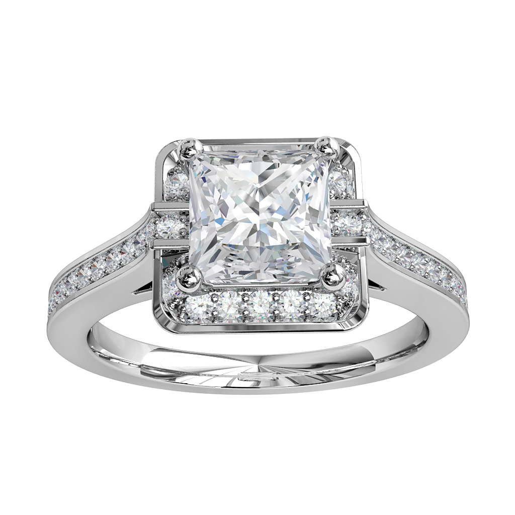 Princess Cut Halo Diamond Engagement Ring, 4 Claw Set in a Bead Set Halo and Art Deco Bead Set Band.