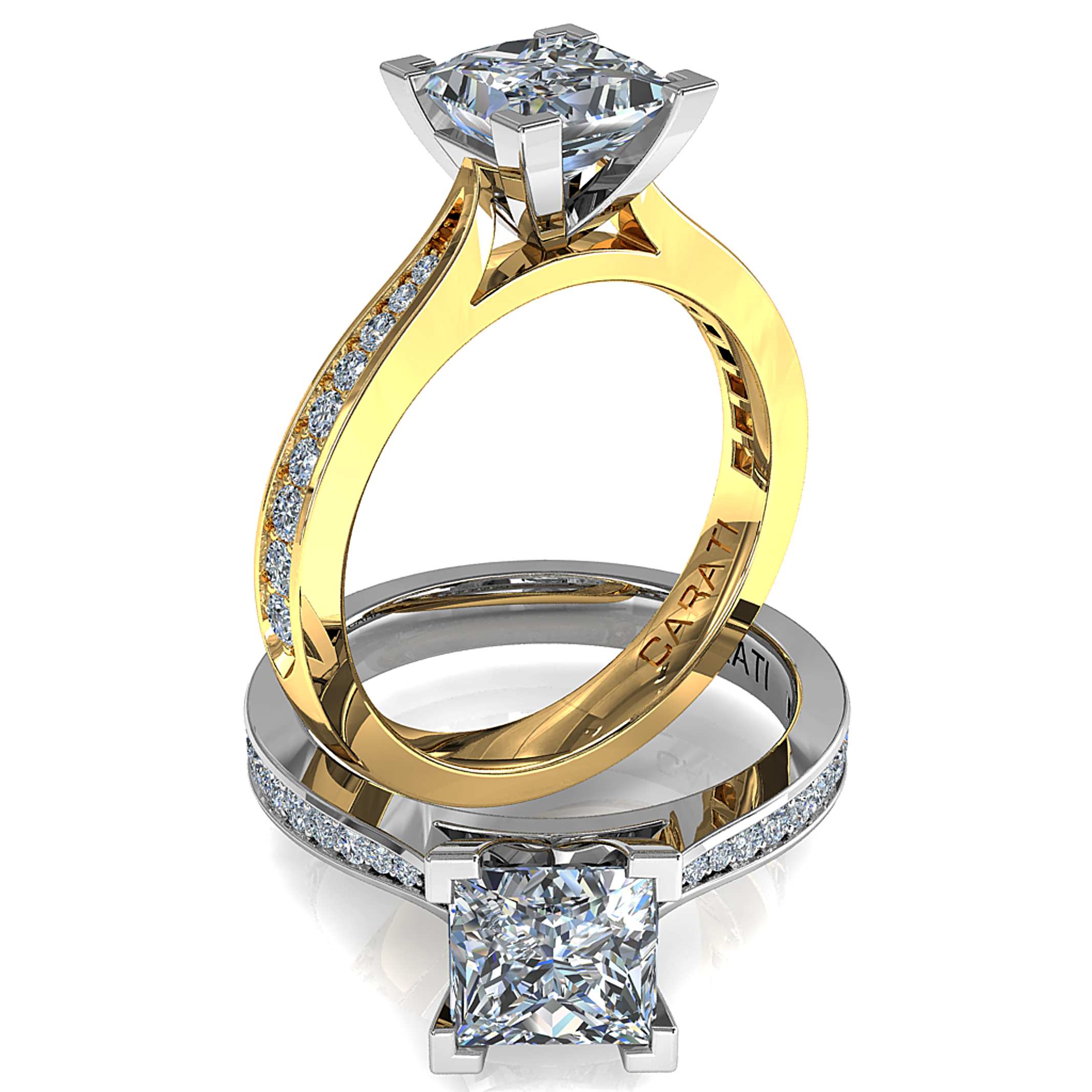 Princess Cut Solitaire Diamond Engagement Ring, 4 Corner Claws on a Tapered Bead Set Band with Classic Underrail Setting.