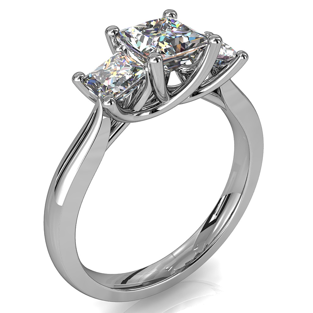 Princess Cut Trilogy Diamond Engagement Ring, on a Tapered Band with an Undersweep Setting.