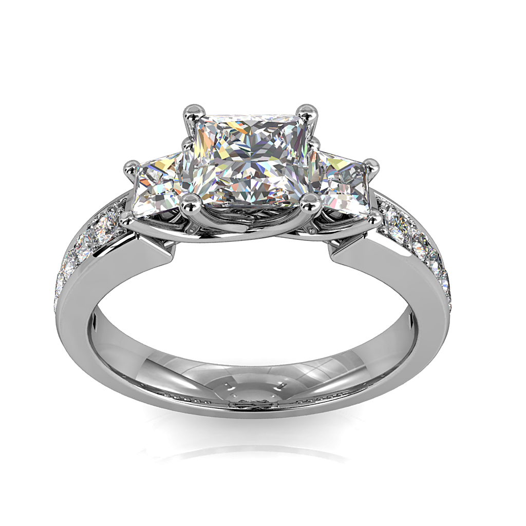 Princess Cut Trilogy Diamond Engagement Ring, on a Bead Set Band and an Undersweep Setting.