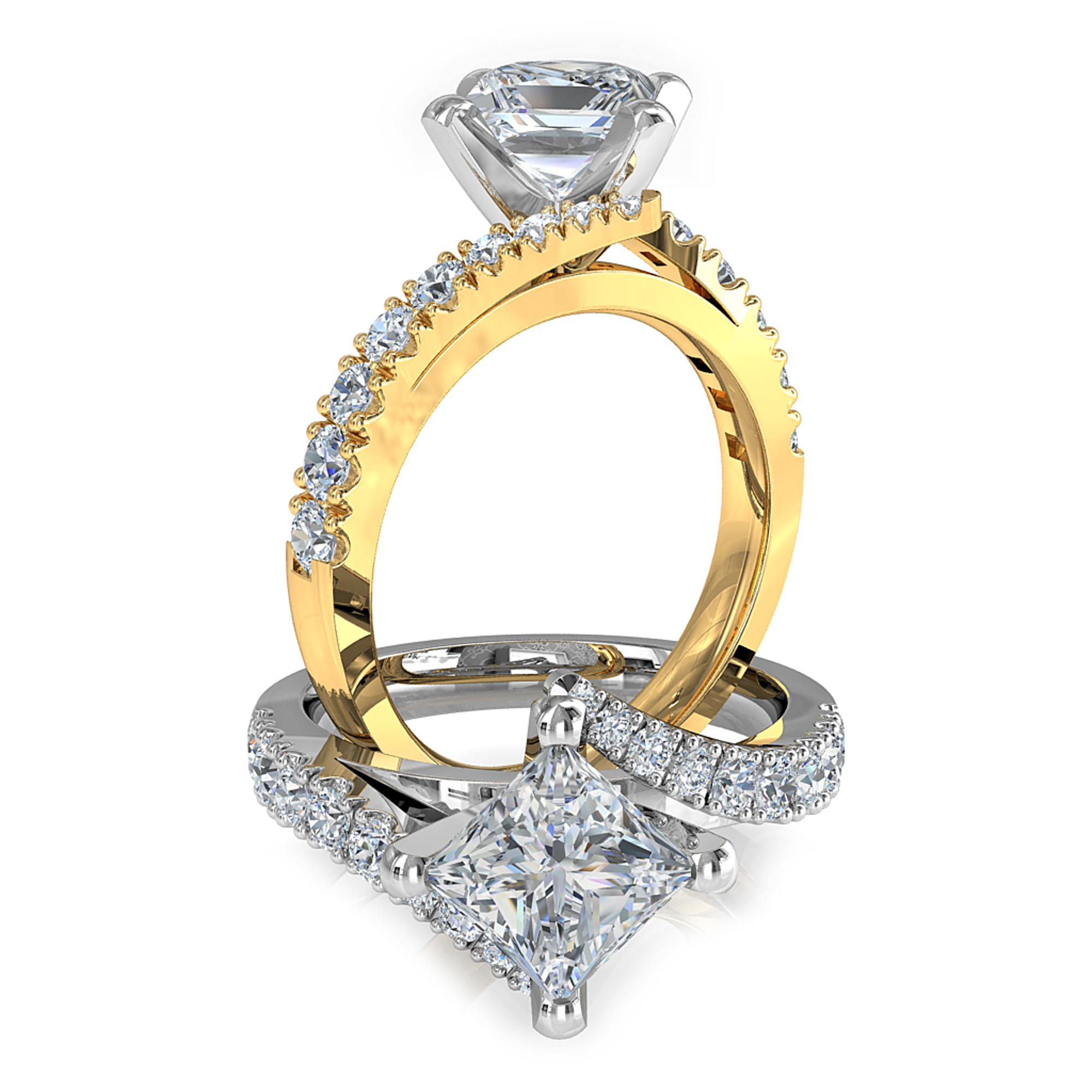 Princess Cut Solitaire Diamond Engagement Ring, 4 Square Offset Claws on a with Sweeping Cut Claw Band.