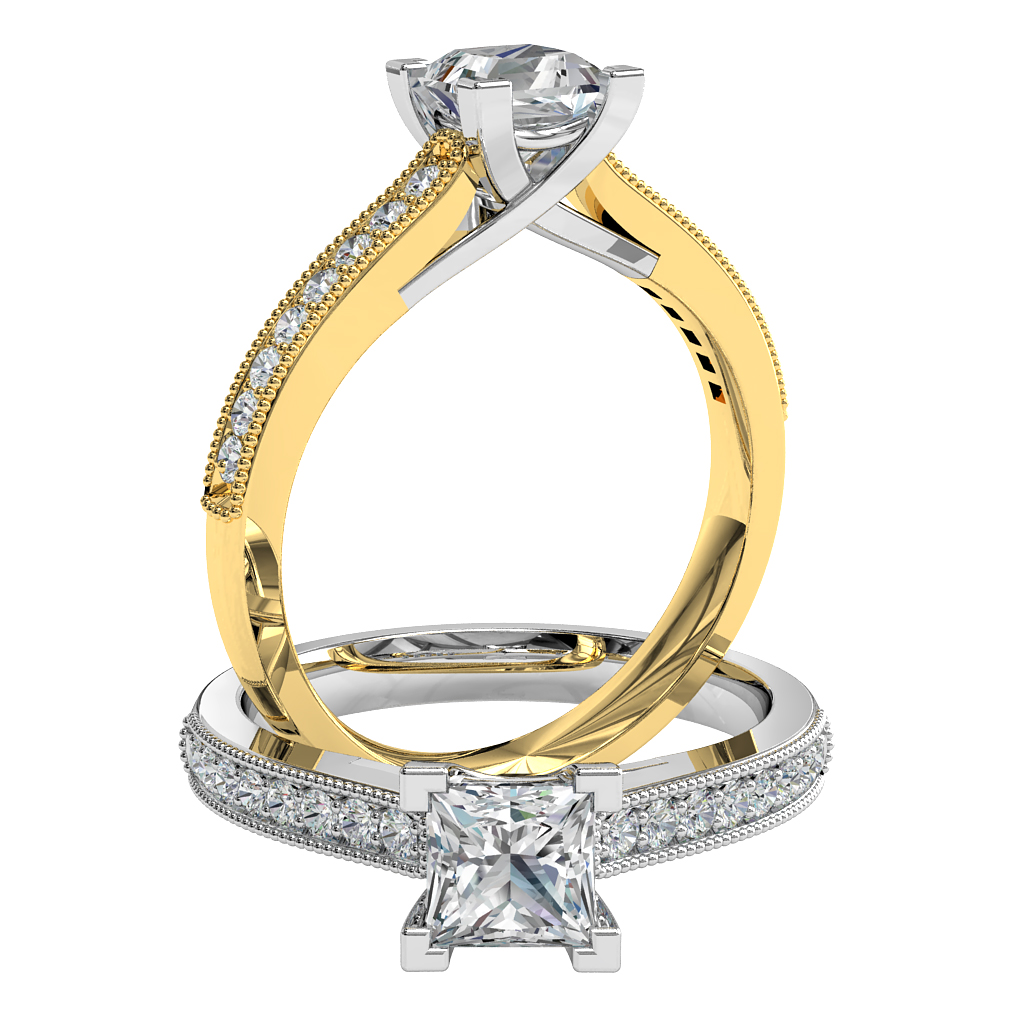 Princess Cut Solitaire Diamond Engagement Ring, 4 Corner Claws on a Milgrain Bead Set Band with an Undersweep Setting.