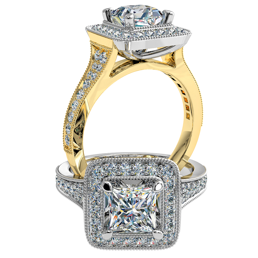 Princess Cut Halo Diamond Engagement Ring, 4 Pear Claws in a Milgrain Bead Set Halo and Reverse Tapered Milgrain Bead Set Band.