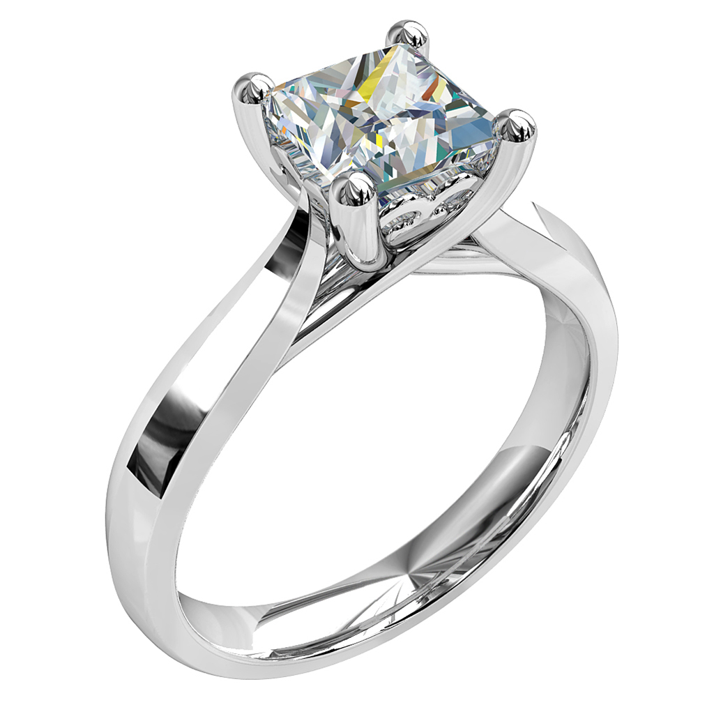 Princess Cut Solitaire Diamond Engagement Ring, 4 Claws on a Tapering Band with Side Scroll Details.