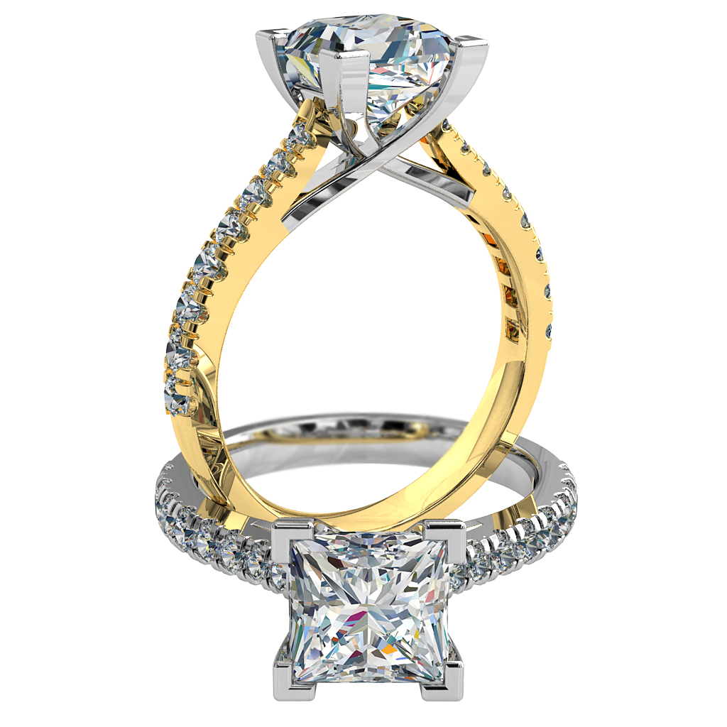 Princess Cut Solitaire Diamond Engagement Ring, 4 Corner Claws on a Tapered Cut Claw Band with an Undersweep Setting.