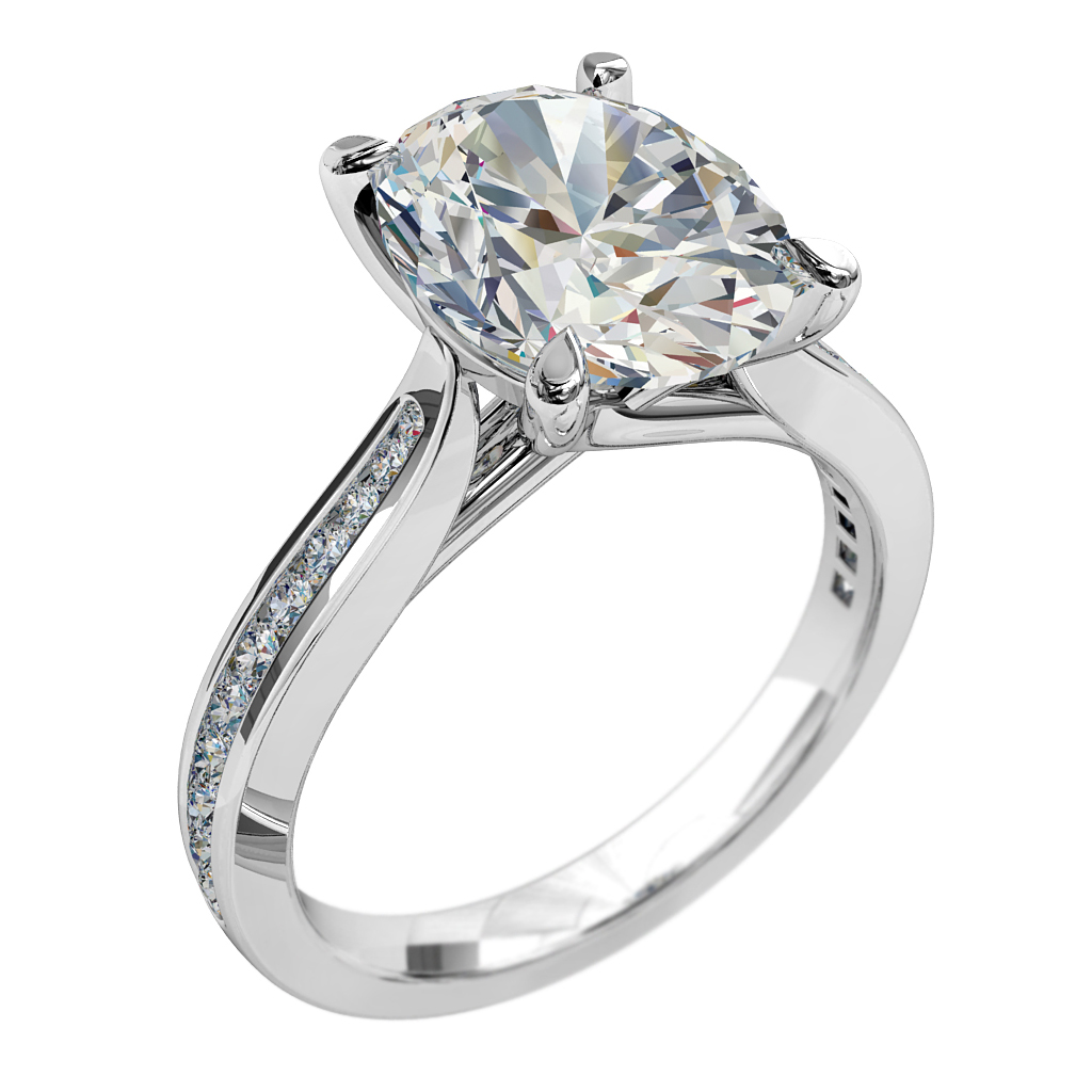 Oval Cut Solitaire Diamond Engagement Ring, 4 Claw Set on a Round Channel Set Band with Undersweep Setting.