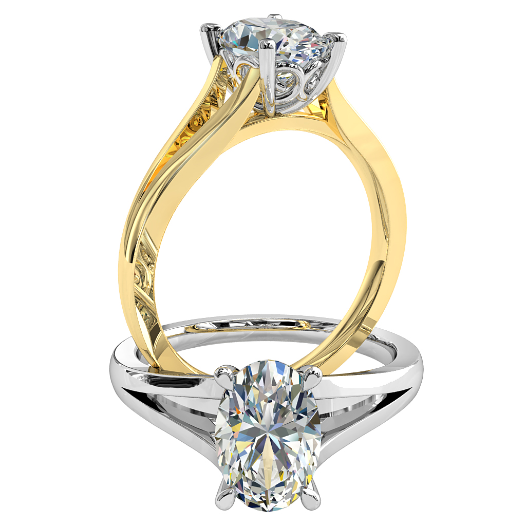 Oval Cut Solitaire Diamond Engagement Ring, 4 Pear Shape Claws on a Split Band, with Scroll Undersetting.