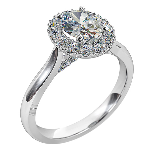 Oval Cut Diamond Engagement Ring, Cut Claw Halo and Diamond Crossover Undersetting.