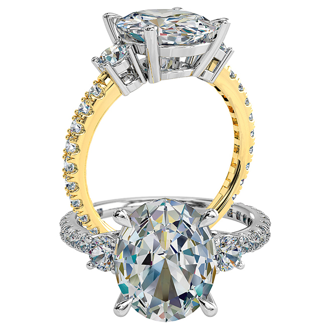 Oval Cut Trilogy Diamond Engagement Ring, with Round Side Stones on a Diamond Cut Claw Band.