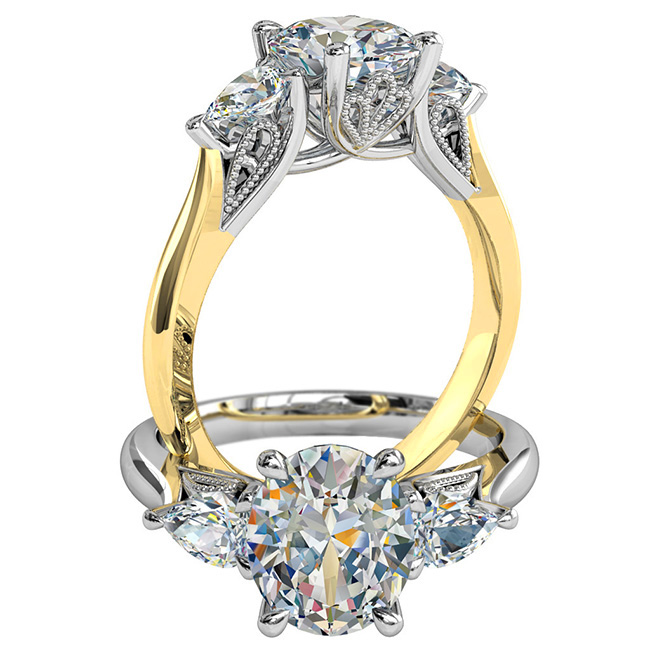 Oval Cut Trilogy Diamond Engagement Ring, with Pear Shape Side Stones and a Vintage Filigree Undersetting.
