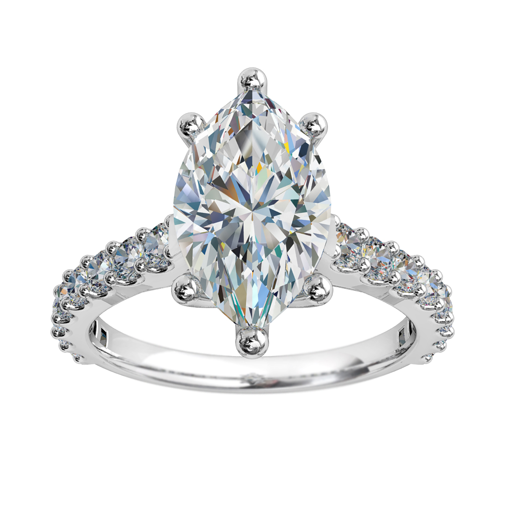 Marquise Cut Solitaire Diamond Engagement Ring, 6 Claw Set on a Cut Claw Band with Sweeping Undersetting.