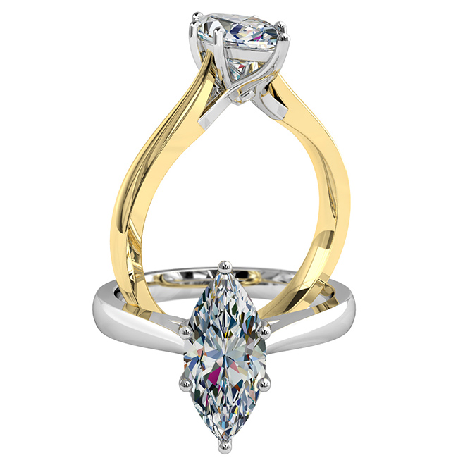 Marquise Cut Solitaire Diamond Engagement Ring, 6 Claw Set on a Sweeping Undersetting.