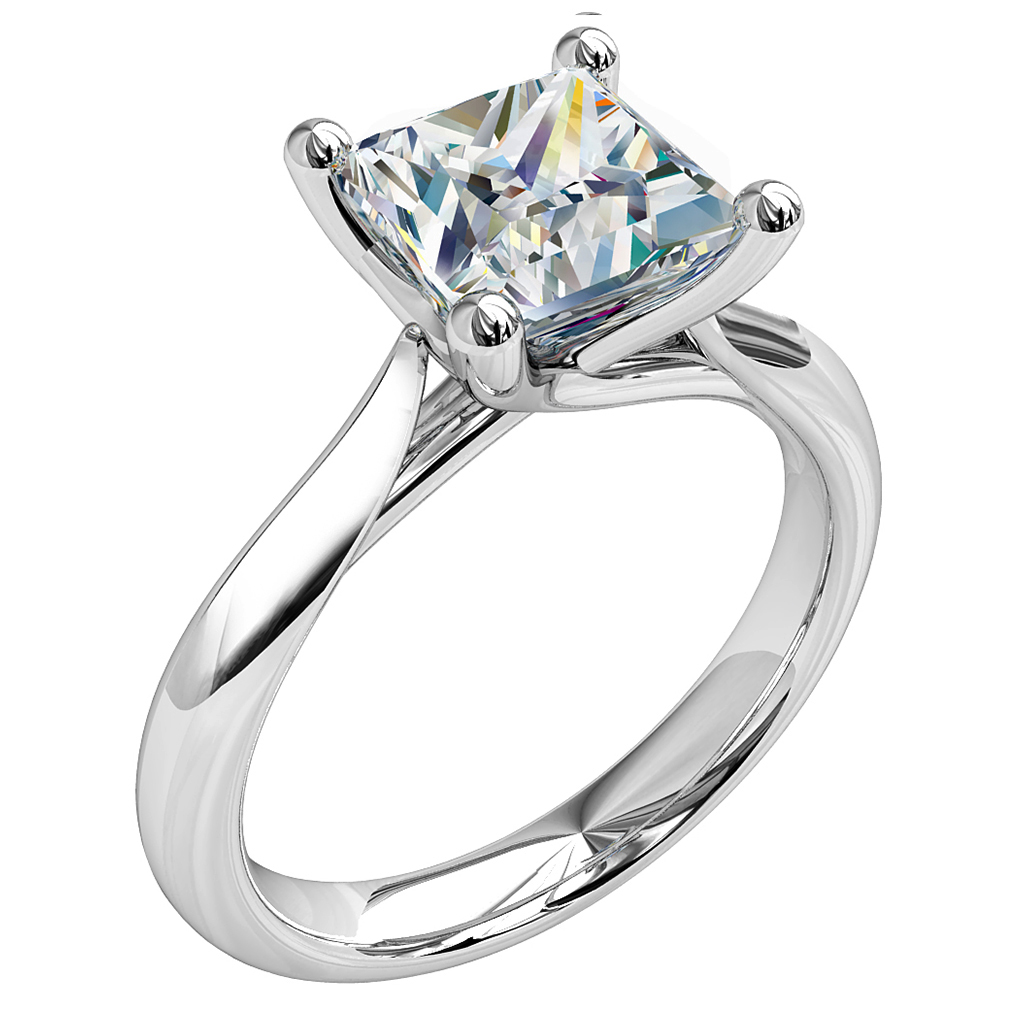 Princess Cut Solitaire Diamond Engagement Ring, 4 Button Claws with an Undersweep Setting.