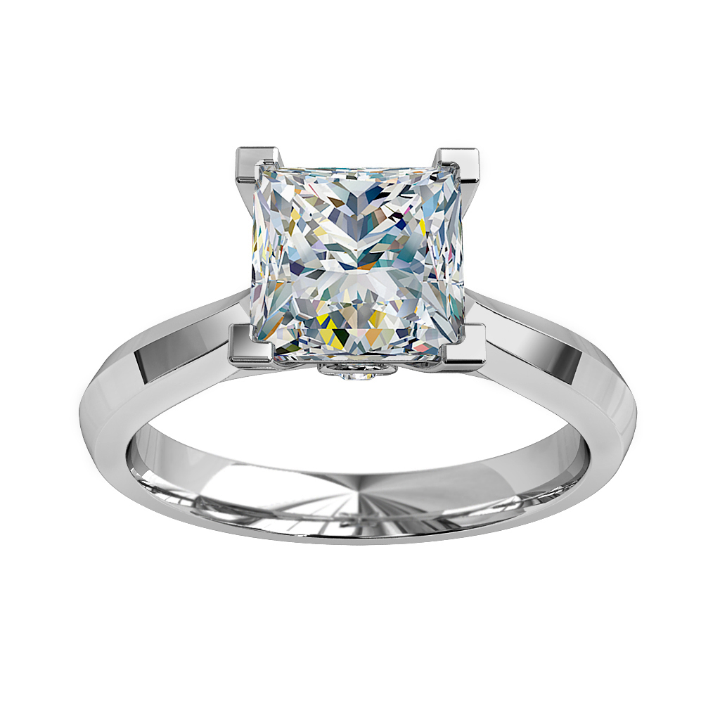 Princess Cut Solitaire Diamond Engagement Ring, 4 Corner Claws with a Hidden Diamond Undersetting.
