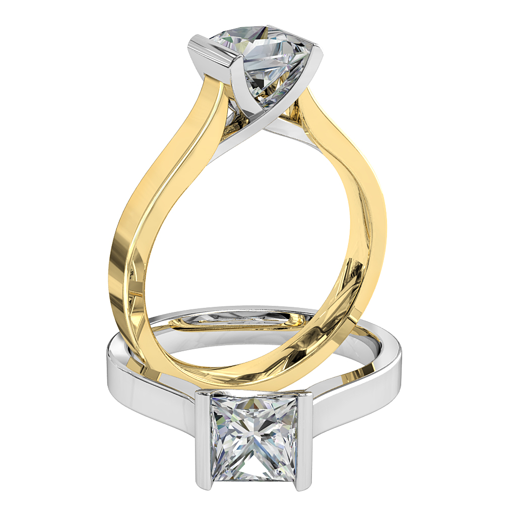Princess Cut Solitaire Diamond Engagement Ring, Tension Set and an Undersweep Setting.