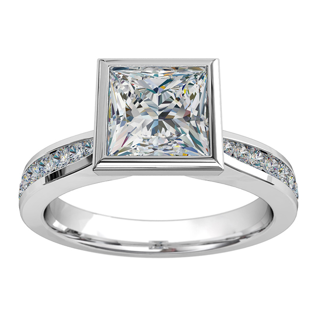 Princess Cut Solitaire Diamond Engagement Ring, Bezel Set on a Tapered Round Channel Set Band.