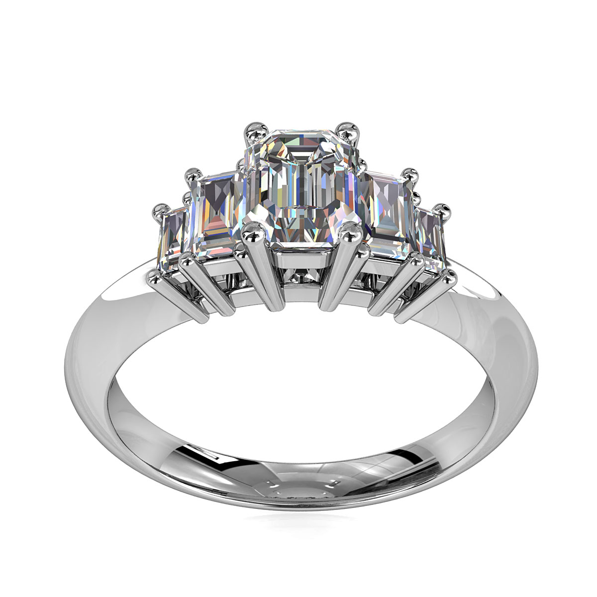 Emerald Cut Trilogy Diamond Engagement Ring, 5 Stone Emerald Cut Stones on Knife Edge Band.
