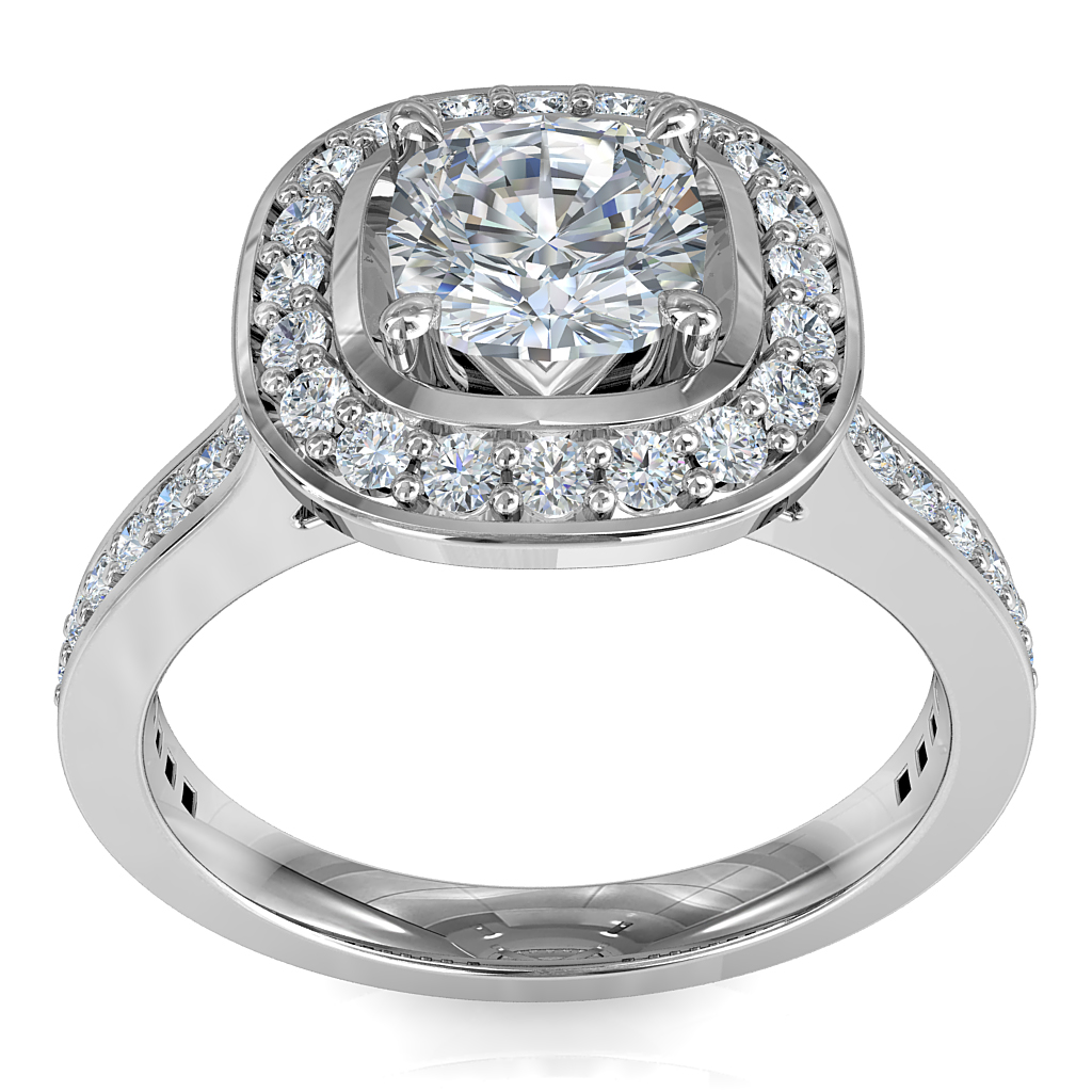 Asscher Cut Halo Diamond Engagement Ring, 4 Pear Claws Set in a Bead Set Halo and Band.