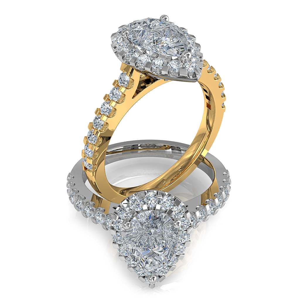 Pear Shape Halo Diamond Engagement Ring, 3 Button Claw Set in a Heavy Cut Claw Halo and Band.
