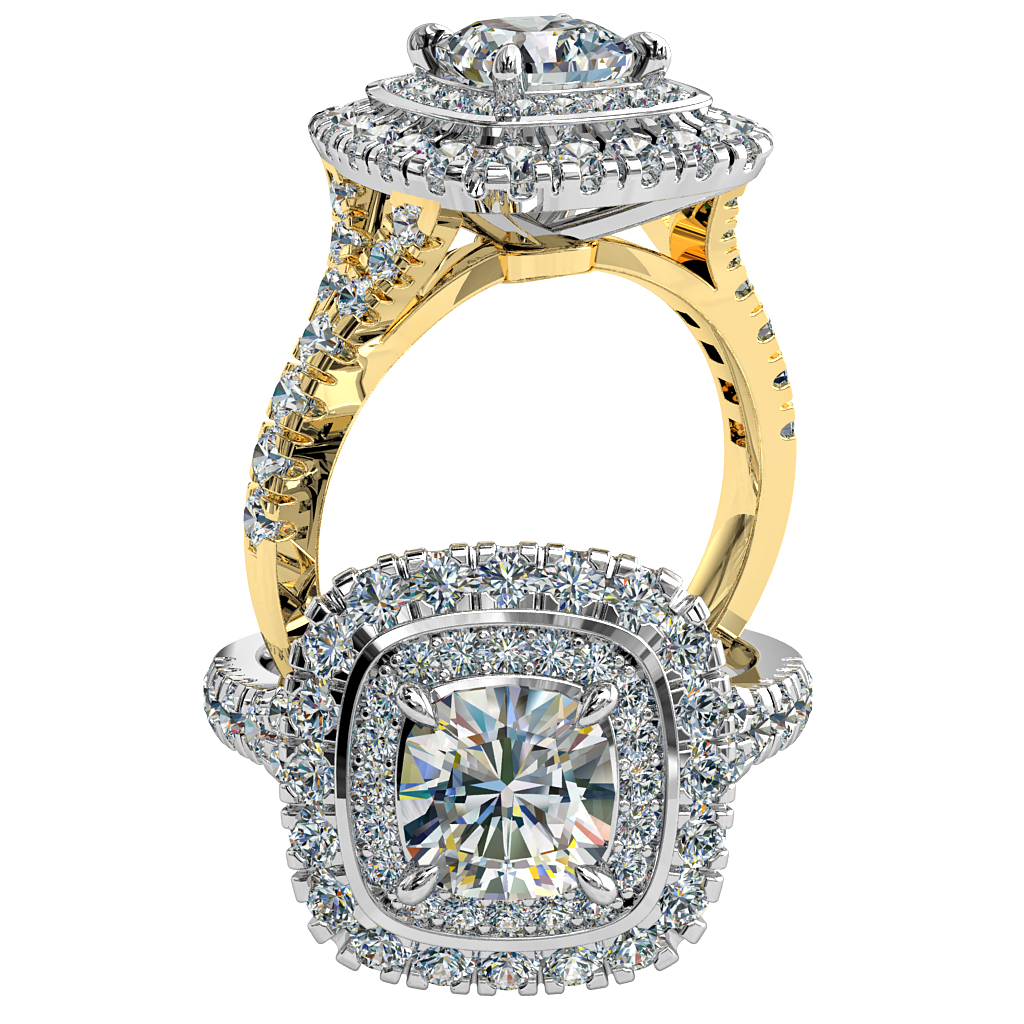 Asscher Cut Halo Diamond Engagement Ring, 4 Pear Claws Set into a Double Bead Set and Cut Claw Halo on a Cut Claw Band.
