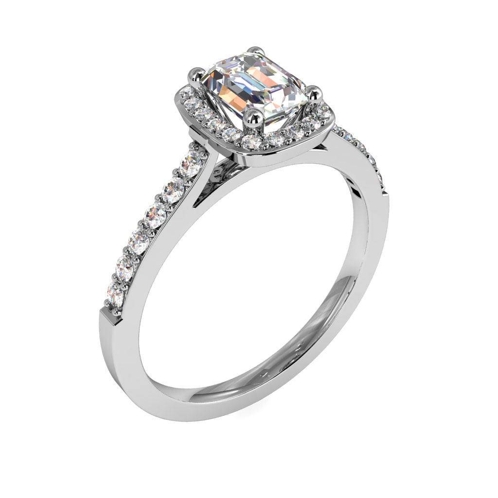 Emerald Cut Halo Diamond Engagement Ring, Open Cut Claw Rectangle Halo and Cut Claw Band.