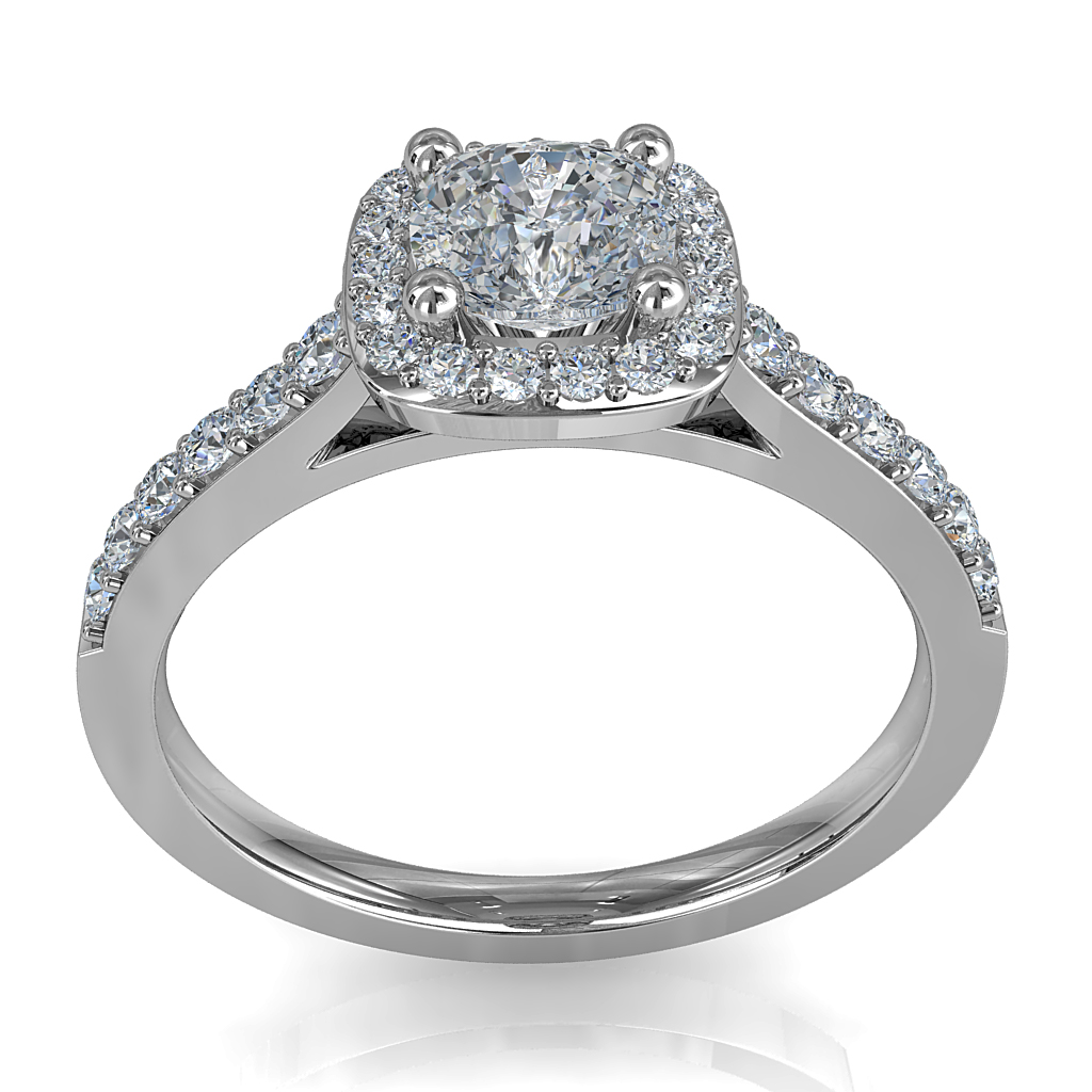 Asscher Cut Halo Diamond Engagement Ring, 4 Claws Set in a Cut Claw Halo and Band with a Classic Underrail Setting.