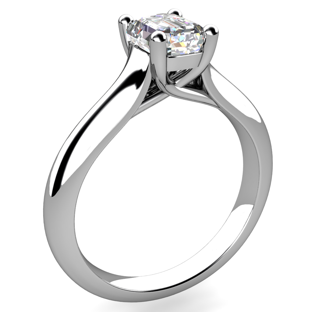 Emerald Cut Solitaire Diamond Engagement Ring, on a Rounded Reverse Tapered Band with Undersweep Setting.