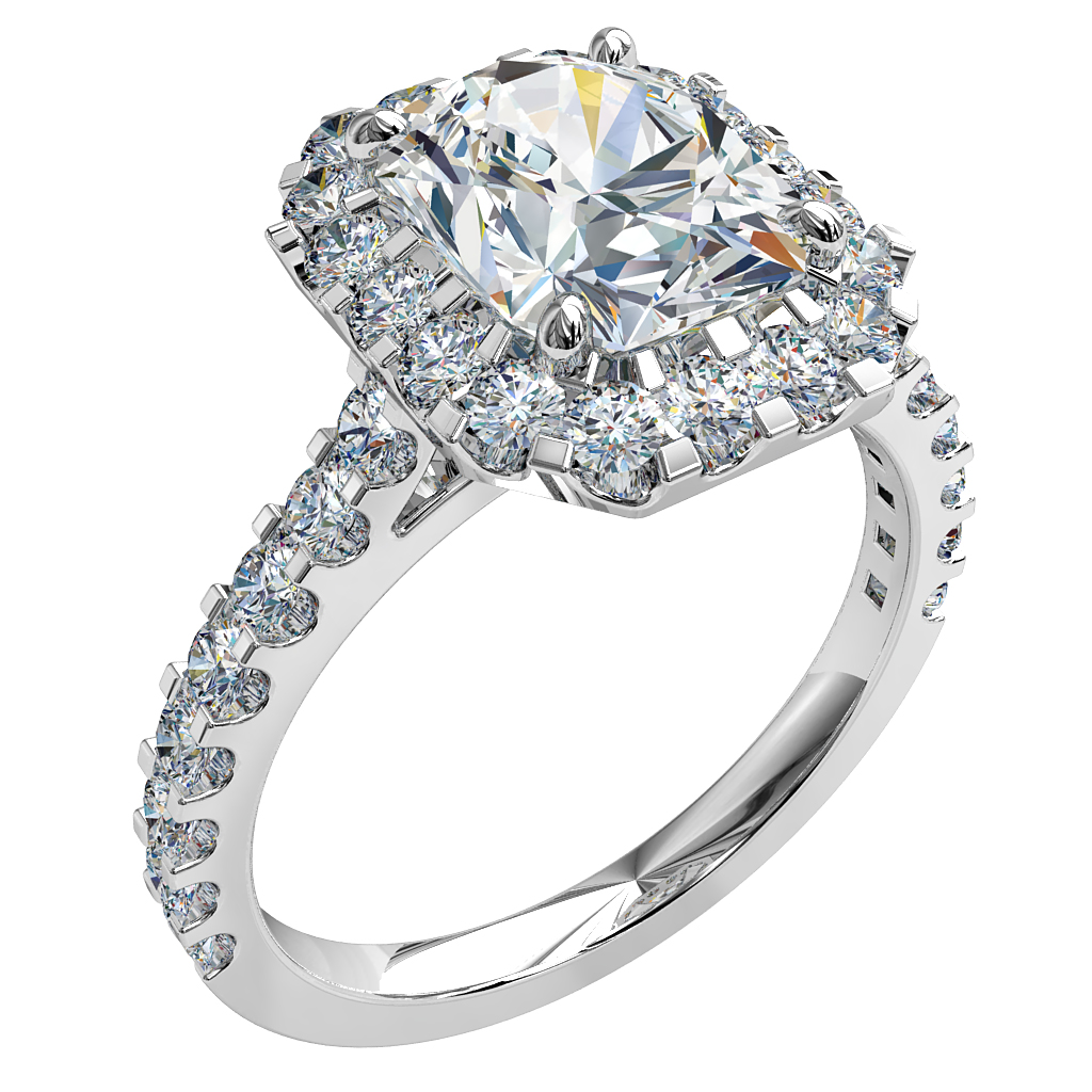 Emerald Cut Halo Diamond Engagement Ring, 4 Pear Claws in a Heavy Cut Claw Halo and Band.