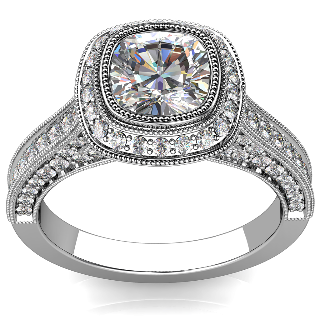 Asscher Cut Halo Diamond Engagement Ring, Milgrain Bezel in a Bead Set Halo and Band with Milgrain and Diamond Undersetting and Outer Band.