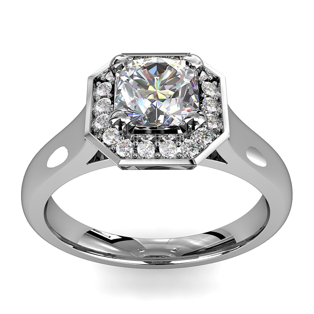 Asscher Cut Halo Diamond Engagement Ring, 4 Square Claw Set in Bead Set Asscher Shaped Halo.