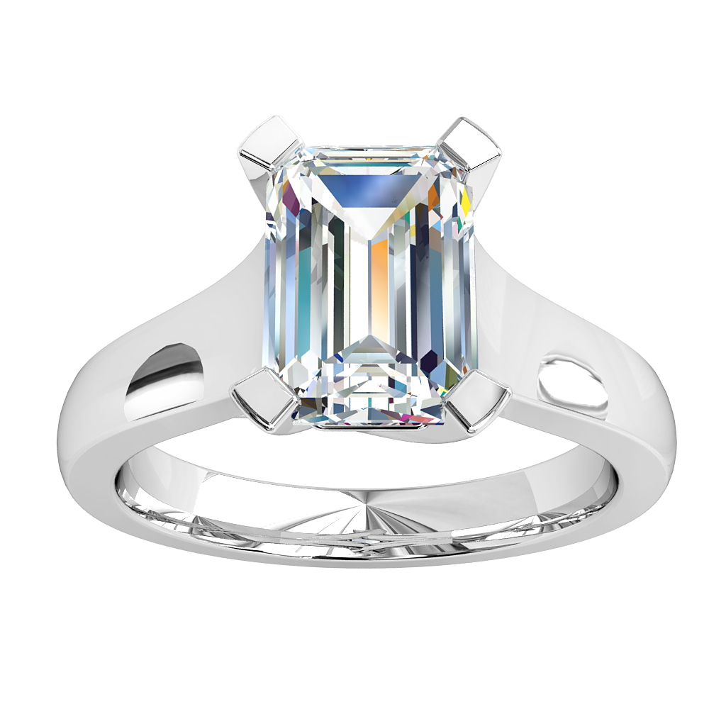 Emerald Cut Solitaire Diamond Engagement Ring, 4 Square Claws Set on a Flat Reverse Tapered Band.